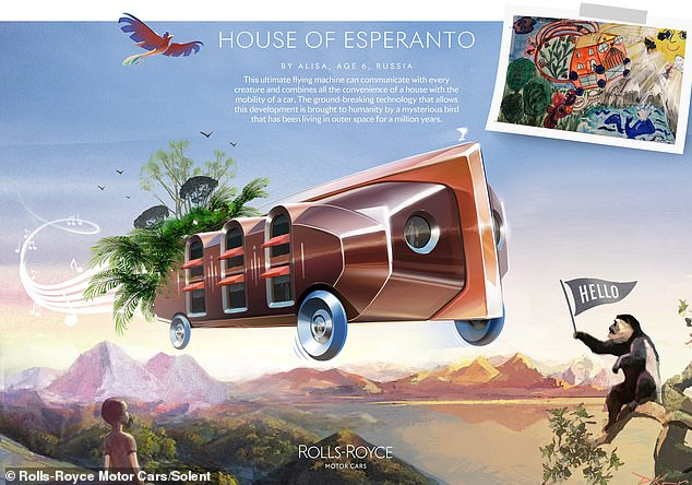 Alissa, aged six from Russia, designed the House of Esperanto vehicle, which can communicate with every creature and combines house and car, was highly commended