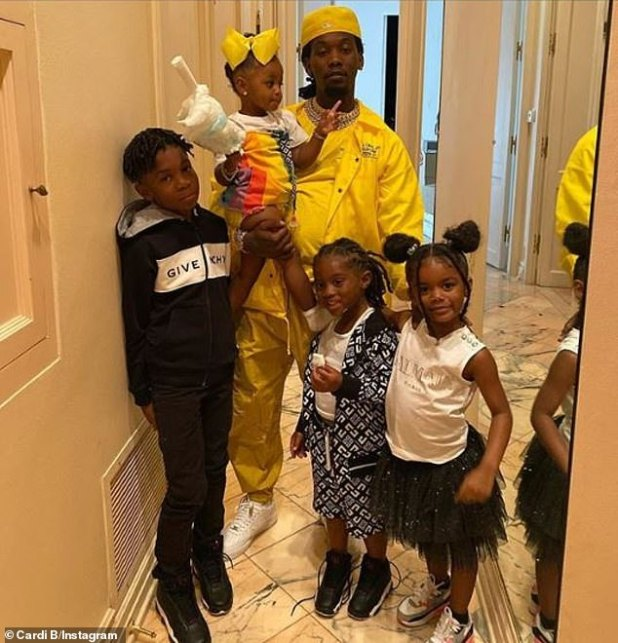 Father-of-four: Offset is also father to three older children - daughter Kalea, 5;  son Jordan, 10;  and son Kody, 5 - with babymamas Shya L'amour, Justine Watson, and Oriel Jamie (pictured June 21)