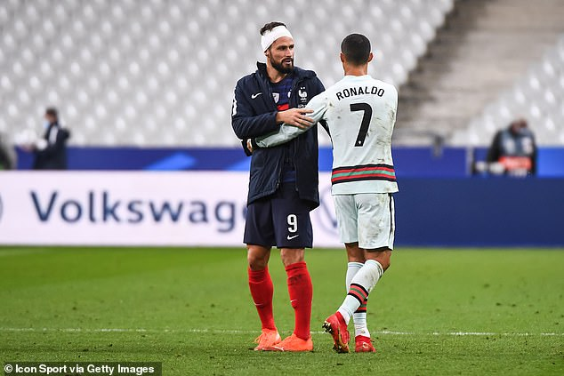 There were also hugs for Chelsea striker Olivier Giroud at the end of the Nations League shock