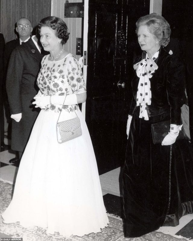 Friends or foes? It's thought that the Queen and Thatcher had a somewhat frosty relationship during her time in office, with Elizabeth concerned how fractured the nation had become at the height of the miners strike. (pictured in 1985)