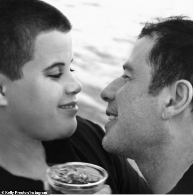 Father-son: with a second black and white image of John and his late son Jet