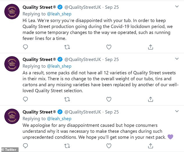 Responding to complaints online, a Quality Street spokesperson said 'temporary changes' have been made to keep the plant running thanks to the coronavirus
