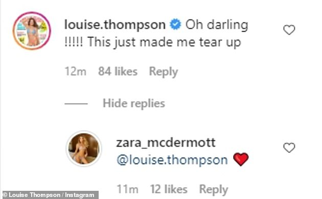 Upset: Sam's older sister Louise wrote to Zara: 'Oh darling!!!!! This just made me tear up'
