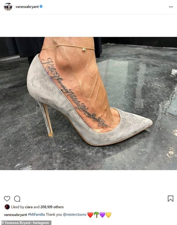 New Ink: She shared a piece of artwork as she wore gray suede heels