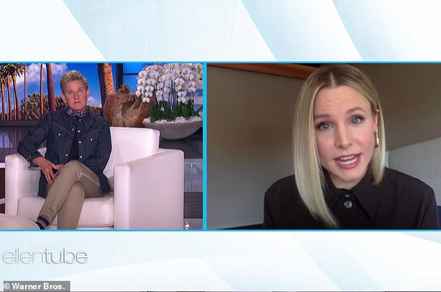 Strong: Kristen Bell said in an interview with Ellen DeGeneres for Wednesday's episode of her daytime chat show that she pledged to stand by her husband Dax Shepard after his relapse.