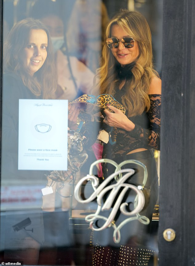 Sensational: Among the items Lizzie browsed was a leopard skin bra with blue lace trim