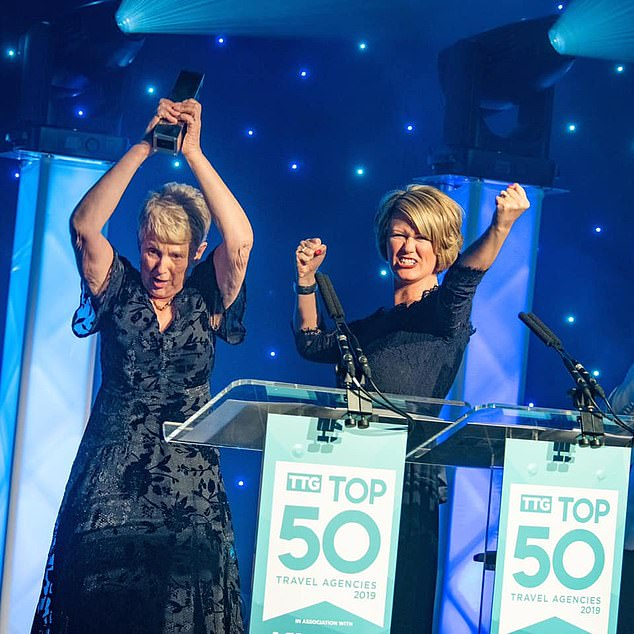 Happier times: winning agency of the year in 2019; Claire, right, says she's 'not sure anyone outside of travel can appreciate the horrendous blow we have been dealt'
