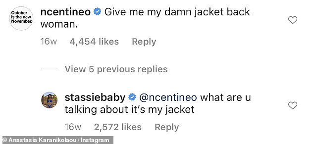 Flirty pair:Noah, who starred in To All The Boys I've Loved Before, caused a fan frenzy when he commented on a picture of Stassie in an oversized jacket
