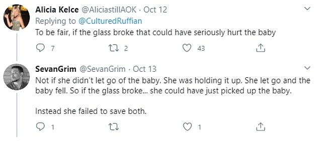 Reaction: Opinion was divided on social media over whether the grandmother was right to save the glass, saying it could have prevented a more serious accident