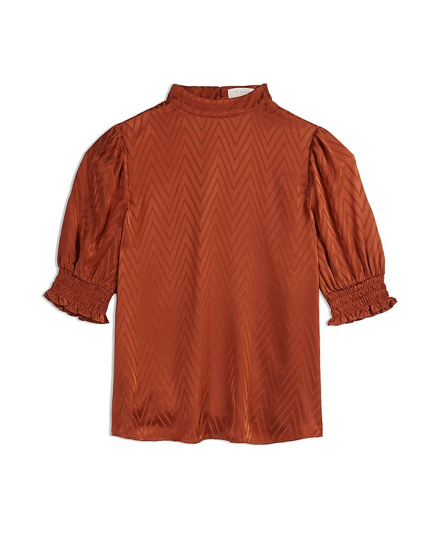 The season's most stylish pair: a high neck and puffed sleeves Top, £99, tedbaker.com