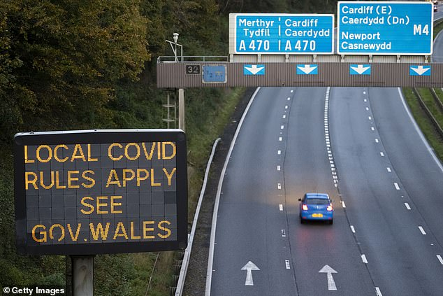 Police commissioners in Wales suggested they could set up road blocks and follow up tips from the public. However, they have admitted there is not the capacity to 'line the border with patrol cars'. Pictured: The M4 in Wales earlier this month