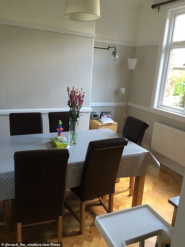 The dining room before was cramped and offered less space for the family-of-four