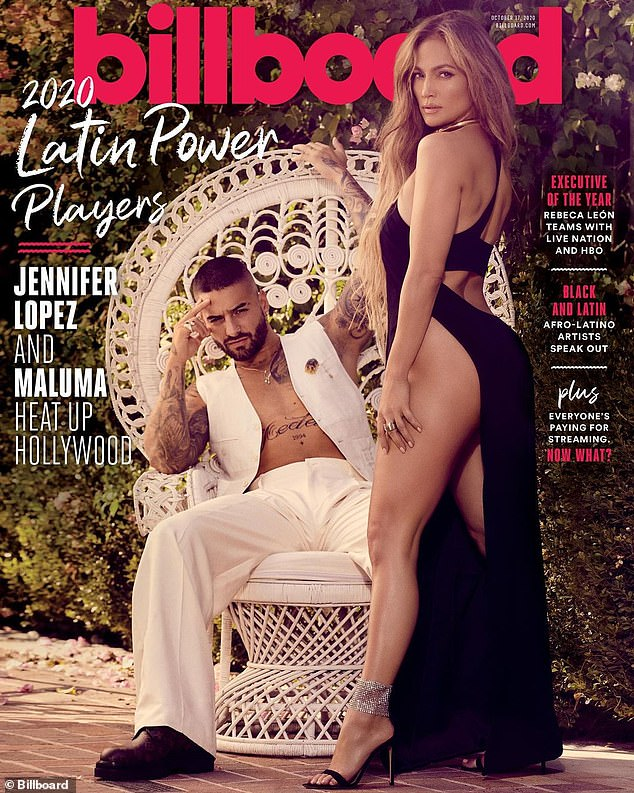 Cover stars: Lopez poses with Colombian singer and actor Maluma on the cover of the Billboard's 2020 Latin Power Players issue