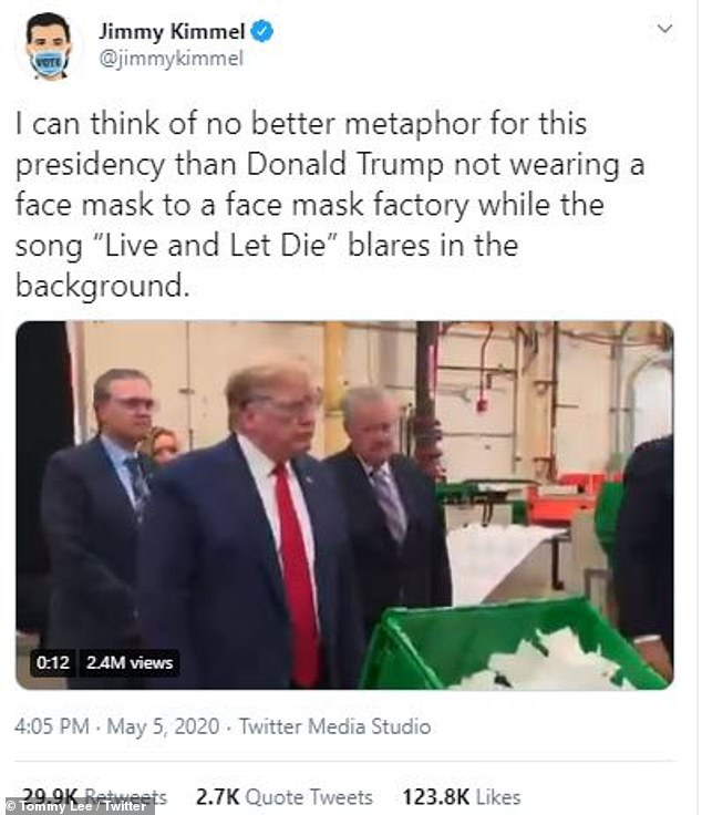 Yikes: Tommy retweeted video shared by Jimmy Kimmel of Trump without a face mask at a face mask factory