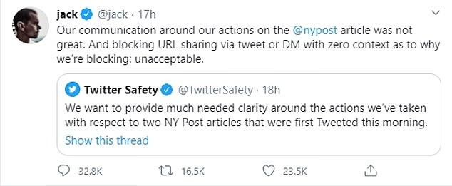 Twitter's Jack Dorsey apologized for not having one