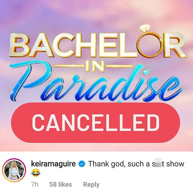 Not holding back: Meme account Bachie Funny shared a screenshot of Keira's comment, that said: 'Thank God, such a s**t show,' underneath a cancellation announcement