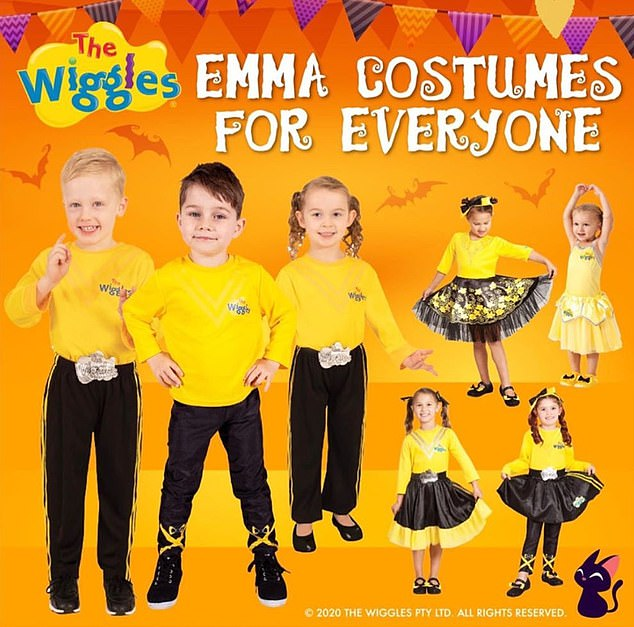 Product: The band announced their new 'Emma Costumes for Everyone' range on Instagram on Wednesday. The packaging shows girls in skirts and pants while the boys only wear pants