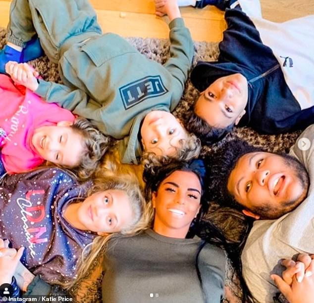 Family: A source said 'any midterm plans with the kids' had to be called off as the star was to be quarantined for 14 days (pictured with Harvey, 18, Junior, 15, Princess, 13, Jett, seven, and Bunny, six)