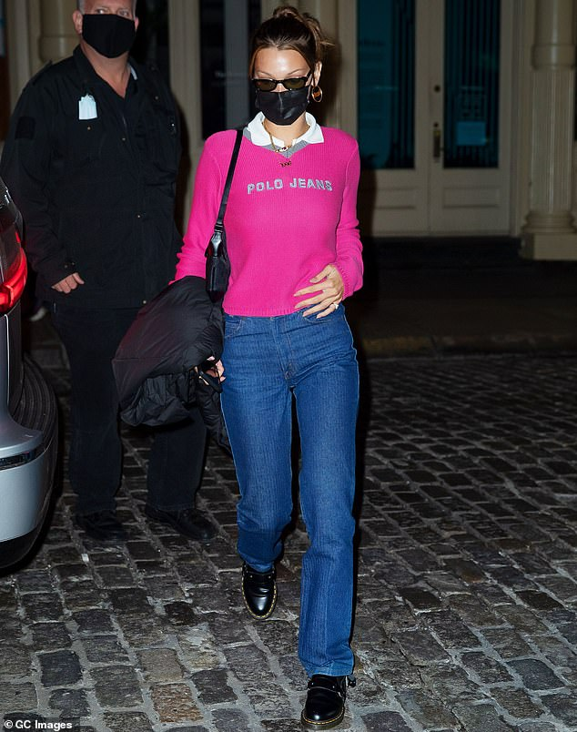 Legging it: Bella Hadid was autumnal chic when she was glimpsed this Thursday surfacing from lockdown in New York City