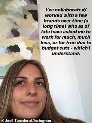 Cutting ties: She told her followers that the brands 'have asked me to work for much, much less... due to budget cuts – which I understand... These are brands I've travelled with and promoted for years who just throw the relationship away because I've refused to work for free'