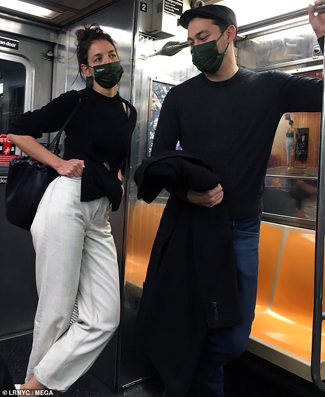 Public transit: The lovebirds were spotted standing together on the subway, before arriving in downtown Manhattan