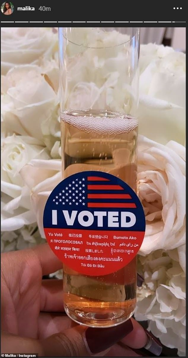She did it! Malika Haqq celebrated submitting her ballot in over a glass of bubbly