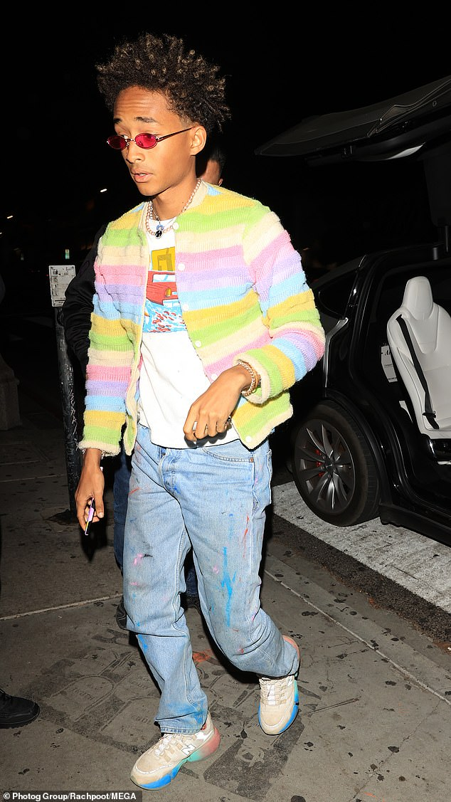 Also in attendance: Jaden Smith added even more color with his bright and sporty ensemble