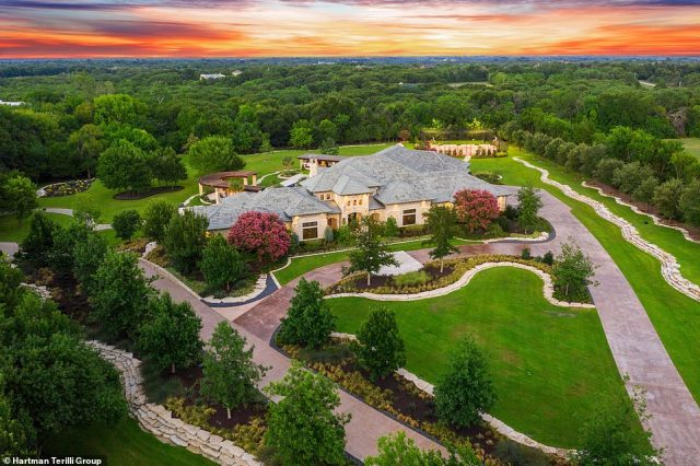 The sprawling 8,000 square-foot estate is in Lucas, Texas less than an hour from Dallas and boasts a basketball court, baseball field and other sporting facilitites
