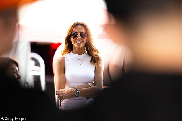 White hot: On Friday, Kyly Clarke (pictured) looked glamorous as she attended the Supercheap Auto Bathurst 1000 practice and qualifying events