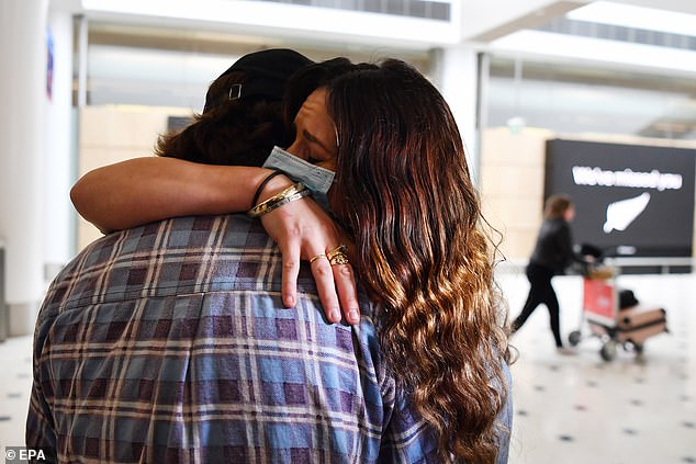 Emotional reunions took place throughout the day as friends, family and lovers reunited with hugs and kisses at Sydney Airport