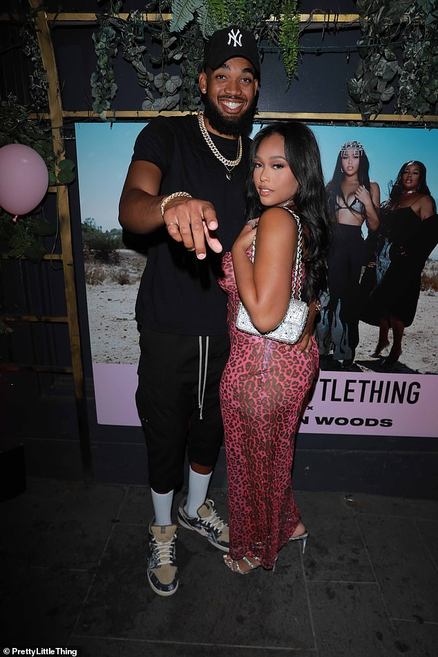 Happy days:Jordyn Woods proved things are going better than ever with her NBA star Karl-Anthony Towns as they attended her PrettyLittleThing launch in LA on Thursday