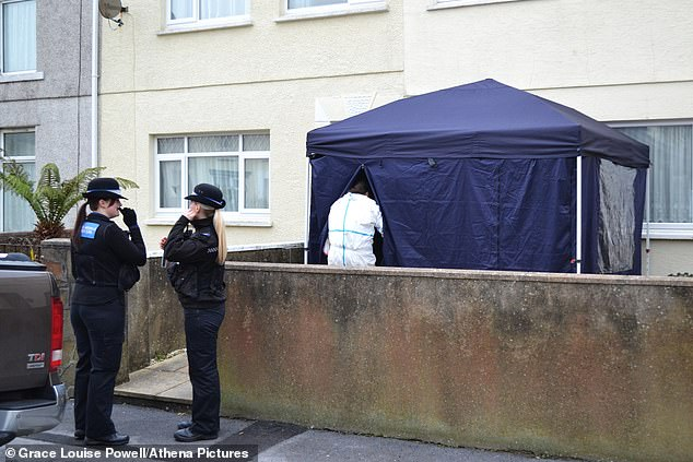 The crime scene at Lakefield Place in Llanelli, Wales, where Gary Williams, 58 and Jessena Sheridan, 46, were found dead