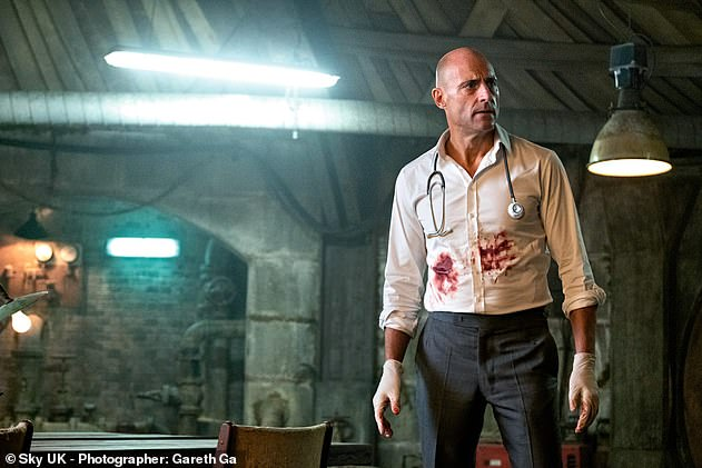 Thrilling: Kingsman actor Mark (pictured) stars as surgeon Daniel who runs a secret operating theatre in a derelict bunker in Sky One series Temple