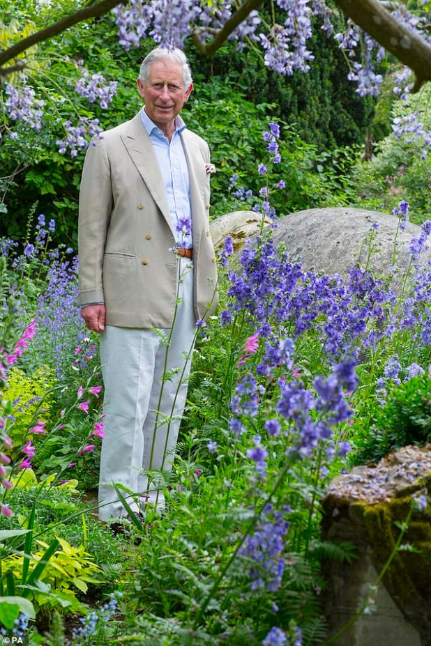 Prince Charles has long been an ardent advocate for wildlife around the world and the recently warned man has only 10 years left to save the planet (pictured, hygrove in his own garden last year).