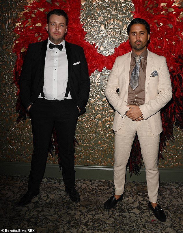 Pals: Also in attendance at the bash were pals James 'Diags' Bennewith (left) and Liam 'Gatsby' Blackwell (right)