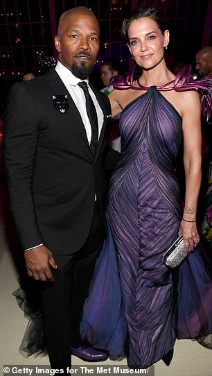 Longterm relationship: Katie and Foxx dated for six years, though they were notoriously private with their relationship; photographed together at the Met Gala, 2019