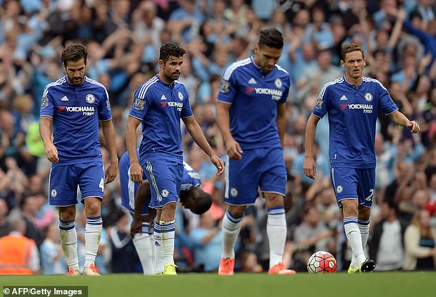 He had to compete with Diego Costa (second left) and Falcao (second right) at Chelsea