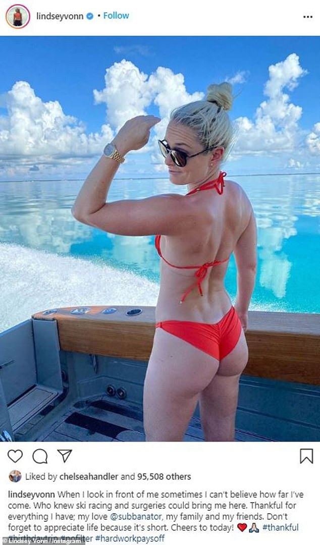 Thankful for everything: Lindsey Vonn showed off her athletic physique in a bikini snap as she celebrates her birthday on vacation