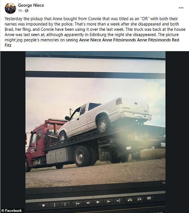 Her brother George Niece revealed her boyfriend had been using the truck