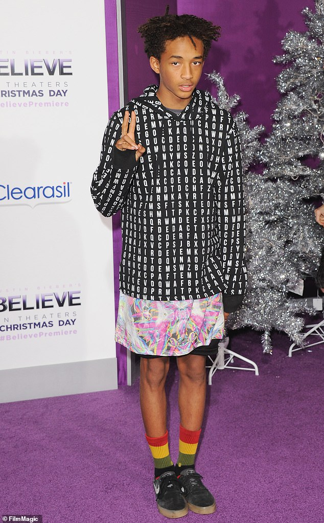 Androgynous chic: Jaden told Nylon in 2016 of his gender expression: 'I'm going to take most of the blows for my fellow MSFTS. So, you know, in five years when a kid goes to school wearing a skirt, he won't get beat up and kids won't get mad at him'