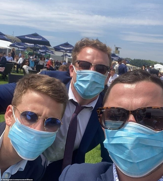 Mask up: A group of men decided to wear masks to promote safety at the Everest, as the NSW government recommends wearing a face mask in places it is hard to social distance