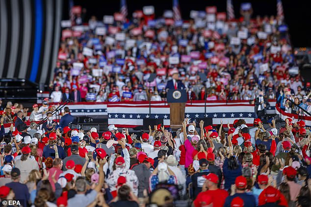 Trump at the Georgia rally Friday night. Georgia has become a key swing state with Republicans winning in 2016 but Biden currently winning the state in polls