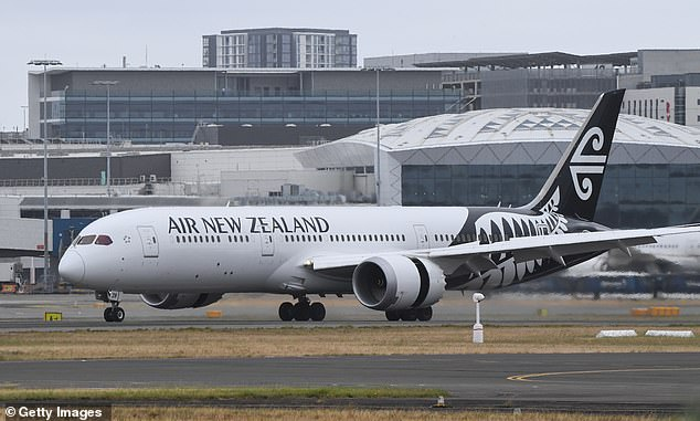 ir New Zealand flight number NZ103 from Auckland lands at Sydney's Kingsford Smith International Airport on October 16, 2020