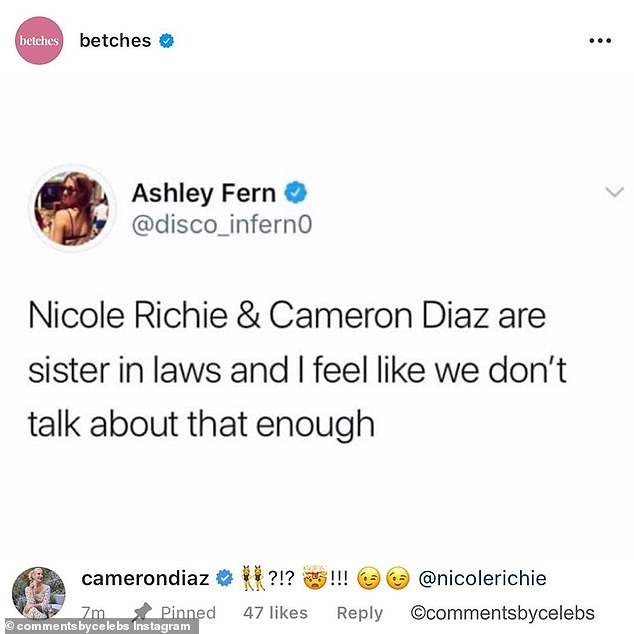 Speaking of Cameron's sis-in-law Nicole: An Instagram user by the name of Ashley Fern recently got some very welcome attention from Diaz when she commented on the two women's familial bond
