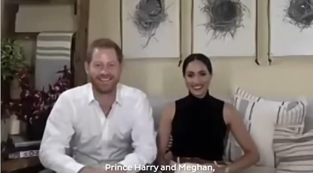 The Duke and Duchess of Sussex will host a special edition of TIME100 Talks on the State of Our Shared Digital Experience on Tuesday. Pictured, the royal couple joinedMalala Yousafzai for a virtual chat on Sunday