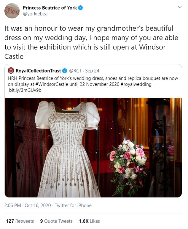 Princess Beatrice admitted it was an 'honour' to wear the Queen's dress on her wedding day in a new tweet