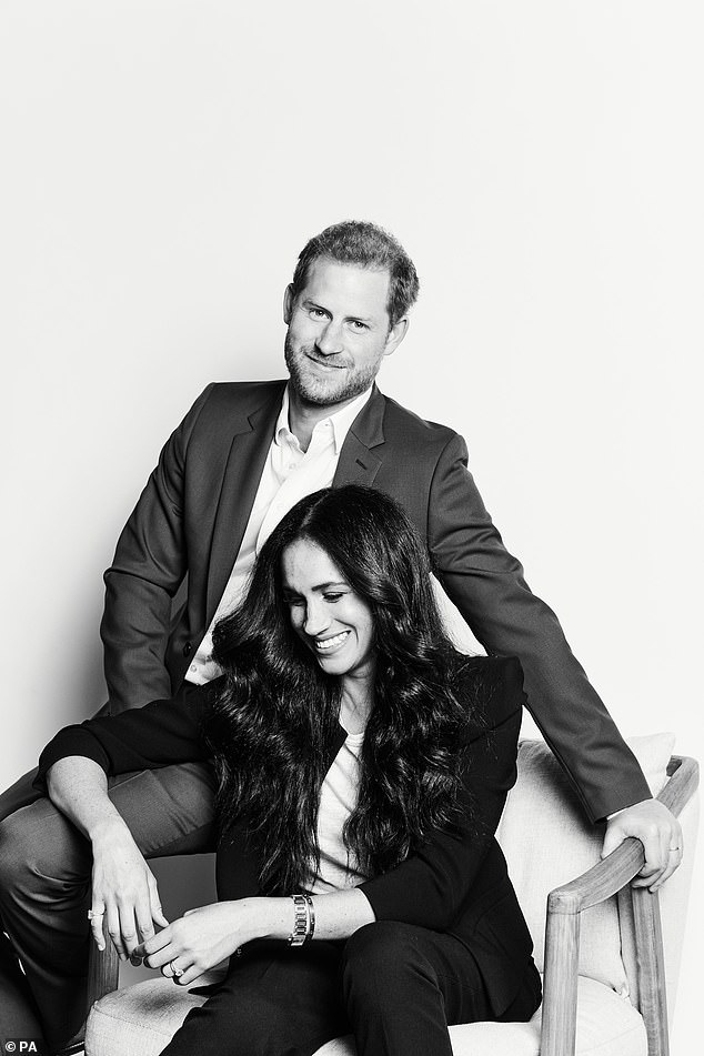 This week it emerged Harry and Meghan will host a special edition of TIME100 Talks on the State of Our Shared Digital Experience on Tuesday. Pictured in a new photo to mark the event.Mr Lacey said he finds the Duke and Duchess of Sussex 'too preachy'
