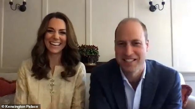 Robert Lacey claimed Prince William, pictured yesterday with wife Kate on a video call to organisations they visited in Pakistan in October 2019, does more for some progressive causes than his brother and sister-in-law