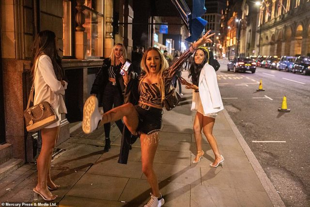 Boris Johnson has backed down from imposing Tier 3 Covid restrictions in Manchester amid fears police would not enforce them without Andy Burnham's backing. Pictured: Revellers in Manchester on Friday