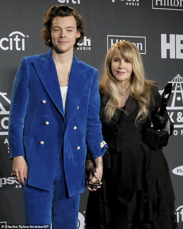 Pals:Stevie Nicks has revealed that she shares a close friendship with pop star Harry Styles. The Fleetwood Mac legend, 72, says the former One Direction boy band performer, 26, understands her. Both pictured in 2019